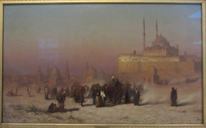 """On the Way between Old and New Cairo, Citadel Mosque of Muhammed Ali, and Tombs of Mamelukes"" (1872) by Louis Comfort Tiffany. Oil on canvas."