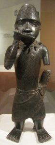 Figure of a Horn Blower (circa 1504-50) from Benin, Edo State, Nigeria made of copper alloy.