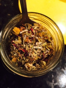 "Working on our ""Sleeping Beauty"" tea blend. This will ensure a peaceful rest indeed."