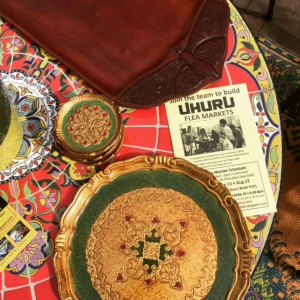 Every week Ajua visits markets and thrift stores, gathering beautiful teaware. These lovely trays were bought at the Uhuru Flea Market yesterday,