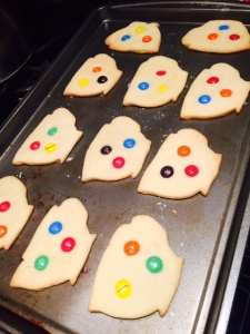 "Busy baking ""teacup"" M&M's cookies."
